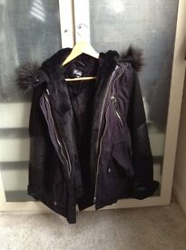 Fur lined navy coat with hood