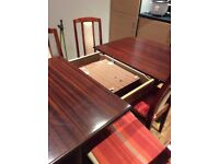 Dinning table and 4 chairs (Extendable table)