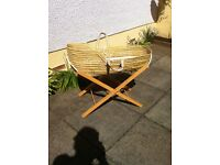 Moses Basket (Rattan) & Stand.