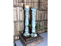 SOLD. Pair of vintage rustic wooden candlesticks hand painted Annie Sloan shabby chic free postage