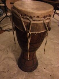 African drum heavy wood carved