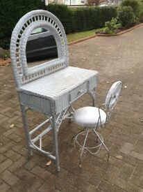 Silver wicker dressing table with chair