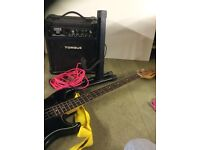 Yamaha BB800 bass guitar, with stand, lead and torque practice amp, with