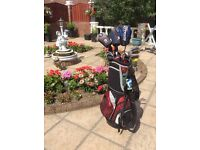 Set of John Letters golf clubs and bag