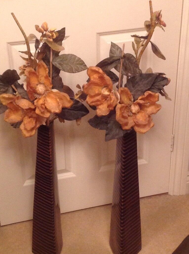Two Tall Dried Flower Arrangements In Vases