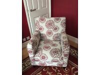 Red and natural arm chair