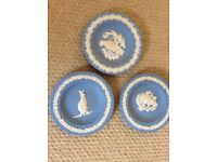 3 wedgewood blue coasters excellent condition