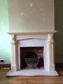 Marble hearth and back with solid resin fire surround
