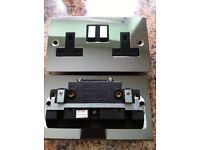 NEW NEW 16 x 13 Amp Double Plug Socket 2 Gang Polished Chrome FLAT Plate NEW- NEW_NEW