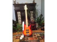 G&L 2500 Series 5 String Bass Guitar. Mint Condition. Sunburst. Complete with hard case and stand.