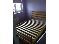 Earlswood Solid Ash Wooden Double Bed Frame and Mattress