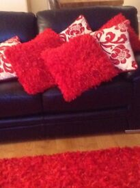 Red rug 170cm x 230cm and matching red cushions all from Next, and 4 red and cream cushions.