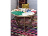 Decoupage Upcycled Wood Table