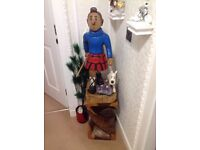 Tintin wood sculpture plus carved solid wood stand