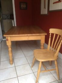 Pine table and 4 chairs with 2 matching corner units