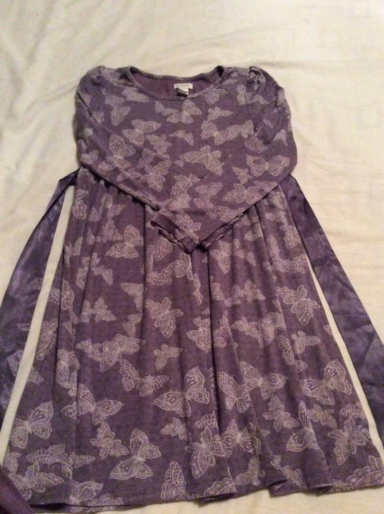 Monsoon girls purple butterfly dress and leggings set age 9-10 years ...