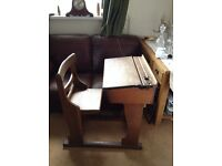 Child's Victorian school desk with attached chair