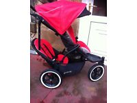 Phil ted navigator double buggy pushchair, black and red