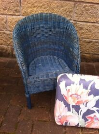 Cute little reproduction Lloyd loom kids tub chair with cushion