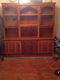 Living room cabinet. Excellent condition. Yew. Illuminated. Including drinks cabinet