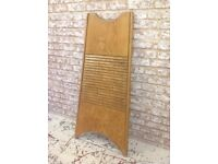 Antique French country hand carved wooden laundry washboard large size