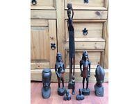 8 Ebony Wood African Figures