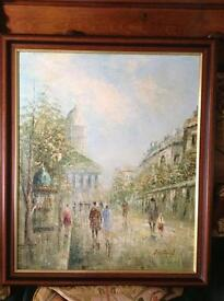 Oil on board painting of a Paris scene £20 the painting is 23 inches wide by 27 inches high