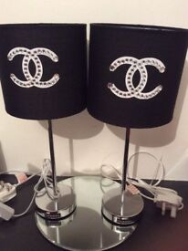 Handmade chanel inspired black and chrome lamps in black and white