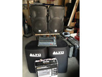 PA System, Pair ALTO TS112A powered speakers, Behringer mixer desk