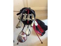 Full set of clubs and bag. Ping, Taylor Made, Titleist. Collection only.