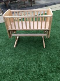 Crib - wooden, rocking/swinging function, good condition