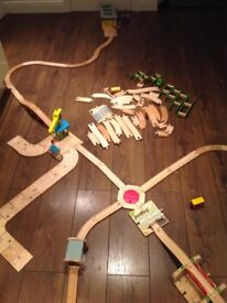Big jigs wooden train track, buildings everything in photos over 100 pieces