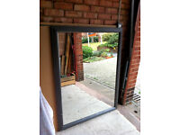 Very Large Mirror with Charcoal Grey Painted Wood Frame