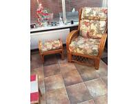 FOUR CANE CONSERVATORY CHAIRS AND STOOL