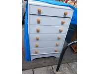 Large 6 drawer chest of vintage drawers painted in duck egg blue