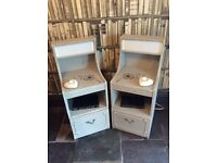 This itm now SOLD. Pair of bedside cabinets hand painted in a shabby chic style with lights