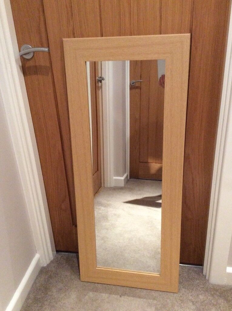OAK EFFECT FULL LENGTH WOODEN MIRROR, EXCELLENT CONDITION