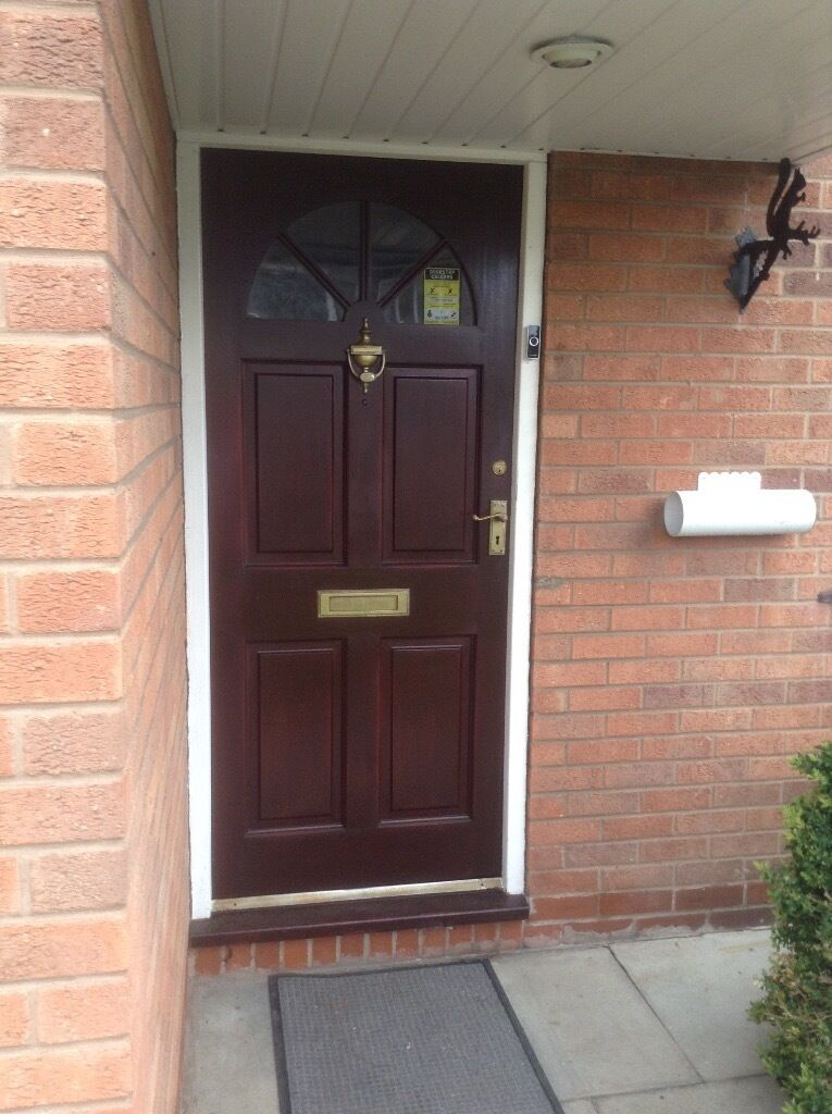 mahogany front door plus brass fitting included in