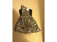 Gold and Black Sequinned Party Dress