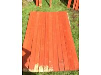 Garden fence wood treated and painted with Autumn red (1800mm x 100mm x19mm)