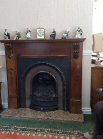Oak Fire Place with cast iron insert. Marble Hearth. Looks stunning. No scratches or marks