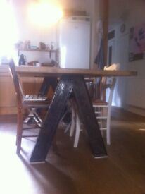 Wood and Metal Industrial Dining Table