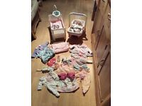 Baby Annabell bundle: doll, cot, car seat, clothes and accessories.