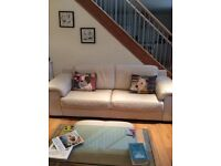 Violino cream leather 2 x 3 seater sofas, armchair and footstool