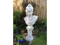 Garden ornamental bust and stand