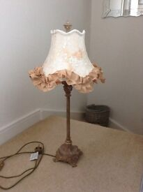 GOLD TABLE LAMP WITH PRETTY SHADE