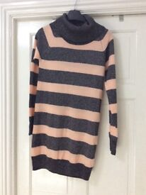 Pink and sparkly black turtle neck, striped jumper dress