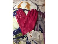 John Lewis Fleece Lined Leather Gloves, Bright Pink