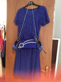 Beautiful blue top and skirt come with bag and shoe as a set