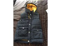 NEXT boys age 14 gilet - navy blue - quilted with hood - great condition